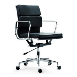 """IFN Modern - Eames Soft Pad Low Back Chair - Our Angus chair isn't just a minimalist work of art, it is designed to perfectly fit the movement of the body for optimum comfort. Bring a beautifully designed office chair home with IFN's Angus Soft Pad Low Back Chair, an investment piece that combines technology and strength to form one beautiful object.Overall Dimensions: 31"""" H x 23"""" W x 24"""" Dâ— Available in 100% Full Grain Italian Leather and 100% Full Grain European Aniline Leather Upholsteryâ— Variety of colors availableâ— Uses #304 steel which is much stronger, shines brighter, and is chip resistantâ— Aluminum alloy chromed frame and baseâ— Tilt and full swivel mechanismâ— Height adjustment with gas-liftâ— Five star base with casters"""