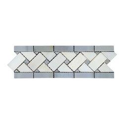 All Marble Tiles - Blue Stone - Thassos White Marble 3 1/4x11 Basketweave Border - Blue Stone - Thassos White Marble 3 1/4x11 Basketweave Border