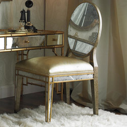 Mirror Back Golden Side Chair -