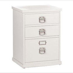 """Bedford 3-Drawer File Cabinet, Antique White - Every piece in our expertly built Bedford Collection can be used singly or combined with others to form a desk, console or wall of storage. The 3-Drawer File Cabinet keeps paperwork organized and within reach. To create a desk set that's ideal for your space, {{link path='/shop/furniture-upholstery/tools-furn/bedford-desk-furniture/'}}click here{{/link}} to view our Bedford Desk Set Tool. 21"""" wide x 17"""" deep x 28.5"""" high The 2 top drawers provide ample room for supplies, and a lower one can accommodate both letter- and legal-sized files. Available in Black or Antique White finish with brushed-nickel bail pulls, or Espresso stain with matte-brown bail pulls. Wood swatches, below, are available for $25 each. We will provide a merchandise refund for wood swatches if they're returned within 30 days. View our {{link path='pages/popups/fb-home-office.html' class='popup' width='480' height='300'}}Furniture Brochure{{/link}}."""