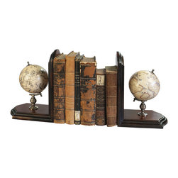 Authentic Models - Globe Bookends, French Finish - As a scientific symbol, our bookends add a touch of distinction to home and office. Matching celestial and terrestrial globes dating back to the 16th C. Bronze mountings and French finished stands.