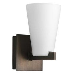 Progress Lighting - Progress Lighting P3100-124WB Rock-on Single-Light Bathroom Sconce with Smooth - Progress Lighting P3100 Rock-On Collection Bathroom Light / Wall Sconce