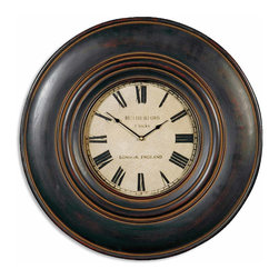 """Uttermost - Uttermost Adonis 24"""" Wooden Wall Clock 06724 - This clock features a wood frame finished in distressed black with brown undertones and a dark tan glaze. Clock face is aged ivory, with glass protecting the clock face. Uses one AA battery."""