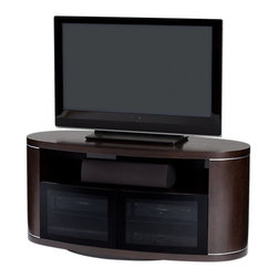 BDI - Revo Home Theater Cabinet - The Revo Home Theater Cabinet from BDI brings elegance to your entertainment center with curved lines and wooden frame. Two IR friendly glass doors hide your components while an adjustable swivel base lets you easily get your TV in the perfect position. Top shelf supports up to 150 lbs.