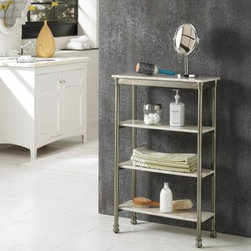 Home Styles The Orleans 4 Tier Shelf - The Home Styles The Orleans 4 Tier Shelf has a classic French Quarter look with a contemporary style. The piece is supported by a sturdy, powder-coated steel frame and features four marble laminated shelves that easily display your decorative soaps, extra toiletries, and more. The piece features capped legs and fitted feet for added stability. This handsome four-tier shelf makes an excellent addition to any bathrooms, both modern and traditional styles.About Home StylesHome Styles is a manufacturer and distributor of RTA (ready to assemble) furniture perfectly suited to today's lifestyles. Blending attractive design with modern functionality, their furniture collections span many styles from timeless traditional to cutting-edge contemporary. The great difference between Home Styles and many other RTA furniture manufacturers is that Home Styles pieces feature hardwood construction and quality hardware that stand up to years of use. When shopping for convenient, durable items for the home, look to Home Styles. You'll appreciate the value.