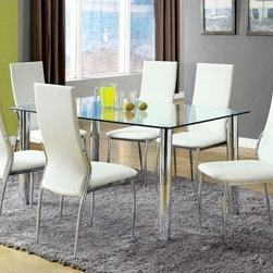 "Hokku Designs - Chandler Leatherette Dining Chair (Set of 2) - Sleek profile - sure to play gracious host to your gatherings, these modern dining chairs create a coordinated scene with supple, leatherette upholstery and stainless steel frame finished in chrome-plated finish. Features: -Upholstered in white and black leatherette. -Frame material: Stainless steel. -Upholstery Materials: Leatherette. -Lightly padded seat and back designed for a slimmer profile. -Comfort level with supportive higher back. -Felt pads recommended . -Seat height: 18""H."