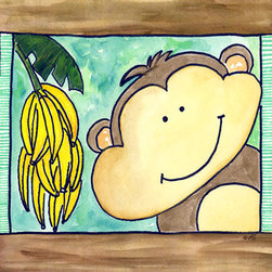 Oh How Cute Kids by Serena Bowman - Here's Looking at You - Monkey, Ready To Hang Canvas Kid's Wall Decor, 20 X 24 - Who's looking at you?  Mr. Monkey, that's who!