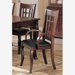 2 PC Cherry Wood Dining Arm Chairs Leather Seat Coaster 100503 - Features