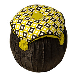 Salmagundi - Salmagundi Black & Chartreuse Tuffet - Add dramatic flair to your room with this petite but potent tuffet. With a sturdy wooden frame and plush seat cushion, it's great as a guest room seat — if you don't find yourself sitting on it all the time! The midnight black base fabric and patterned chartreuse cushion are visually striking while still feeling warm and welcoming.