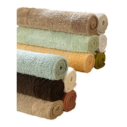 Luxor Linens - Anini Bath Rug, Large, White - Naturally anti-bacterial Bamboo meets cotton under your feet. Available in 10 soothing colors to match any bathroom decor, your feet will be happy every time you step out of the bath. 200gsf. Reversible spa bath rugs. Made in India.