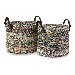 "IMAX CORPORATION - Alaina Recycled Magazine Baskets - Set of 2 - This set of two is environmentally friendly Alaina baskets are handmade from tightly coiled, recycled magazine strips. Set of 2 in various sizes measuring around 26.5""L x 14""W x 15""H each. Shop home furnishings, decor, and accessories from Posh Urban Furnishings. Beautiful, stylish furniture and decor that will brighten your home instantly. Shop modern, traditional, vintage, and world designs."