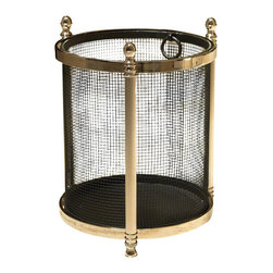 Global Views - Global Views | Acorn Wastebasket In Black/Nickel - Global Views | Acorn Wastebasket in Black/Nickel