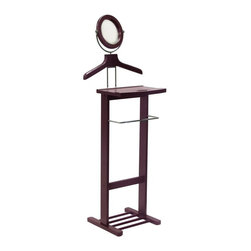 Winsome Wood - Valet Stand in Espresso Finish - The Valet Stand in Espresso Finish displays metal accents that add a note of style and class to any room setting. This full-featured stand features a convenient wood framed tilting mirror and a spacious accessory shelf for jewelry and pocket change. * Espresso finish. Mirror. 54.25 H x 20 W x 14.75 D in.