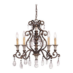 Savoy House Lighting - Savoy House Lighting 1-3001-5-8 St. Laurence Traditional 5-Light Chandelier - Family is fashioned of New Tortoise Shell and Silver finish with Antique Cream drip candle covers and Crystal drops.