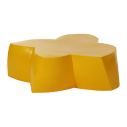 Heller - Frank Gehry Color Coffee Table, Yellow - Here's some flower power to energize your indoor or outdoor room. The twisted flower shape is molded from polyethylene in your choice of eye-popping colors and is waterproof and UV-protected to keep its bloom for years to come.