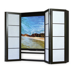 Cherry Tree Design - Contemporary Flat Screen Surround TV Cabinet, Amber, Eggshell - Solid hardwood Flat Screen TV Cabinets not only hide the TV, but make an attractive, artful addition to the room.  Contemporary Shoji Flat Screen Surrounds are available in several finishes, patterns and authentic shoji insert materials to stylishly disguise your flat screen.