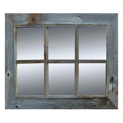 MyBarnwoodFrames - 6 Pane, Windowpane Mirror Reclaimed Barnwood 20x20, 4 sizes avail. - Rustic  Windowpane  Mirror  with  Six  Panes, 20x28 inch outer dimensions.          Our Rustic  Window  Pane  Mirrors are  a  beautiful  addition  to  your  rustic  bath  or  to  any  room  in  your  house.   Designed  to  resemble  a  farmhouse  window,  these  beautiful  mirrors  give  you  function  and  adds  light  and  dimension  to  a  room.  This  mirror  is  built  with  authentic  naturally-aged  barn  wood  with  a  total  of  six  windowpane  openings.   Some  of  our  wood  samples  are  nearly  a  century  old,  and  feature  natural  knotholes,  aged  wood  texture,  and  color  variations  in  tans  and  greys.  Hanging  hardware  is  included  and  this  mirror  can  hang  horizonntally  or  vertically.  Your  mirror  will  vary  slightly  in  color  and  texture  from  the  one  pictured  here.  This  mirror  will  look  great  in  an  entryway,  or  surround  it  with  a  collection  of  reclaimed  wood  picture  frames  for  a  unique  wall  display.   This  mirror  can  be  created  in  custom  sizes  if  you  don't  see  the  size  you  need  here.