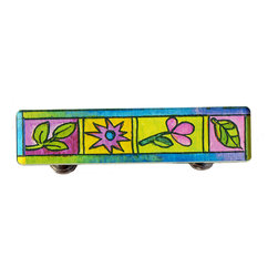 Paper Scissors Rock - Spring Drawer Pull - Our Drawer Pulls are exclusively available online at Houzz.com. These colorful accents will brighten up any room, cabinet or piece of furniture. Each one starts with an original watercolor by artist Pamela Corwin, which is reproduced and sandwiched in between two durable layers of durable acrylic and mounted on a chrome finished base.  They are a perfect way to bring new life to a bureau, cabinet or even in the bathroom. Standard 8-32 screws included