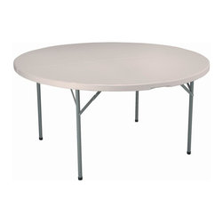 KFI Seating - 60 in. Round Blow-Molded Folding Table - Lightweight blow-molded folding table. 1.75 in. Thick granite table top. 17 Gauge - 1 in. Grey powder-coated steel legs. Easy to move and store. Assembles in seconds. 60 in. Dia. x 29 in. H
