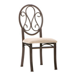 Holly & Martin - Paisley Chair Set 4 pc. - Eloquent scrolls adorn the oval back of this transitional 4-piece chair set. The metal tube frame is powder coated with a dark brown texture with hints of bronze highlights. The seat cushion is covered with a beige short napped polyester fabric that adds the perfect amount of color contrast. These four chairs are styled to create a wonderful transition between any varieties of decor.