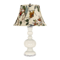 "Color Plus - Contemporary West Highland White Gray Botanical Apothecary Table Lamp - West Highland White glass table lamp. Gray botanical print bell shade. Lucite base. Maximum 150 watt or equivalent bulb (not included). On/off switch. 30"" high. Shade is 10"" across the top 17"" across the bottom 11"" on the slant.   West Highland White glass table lamp.  Gray botanical print bell shade.  Lucite base.  Maximum 150 watt or equivalent bulb (not included).  On/off switch.  30"" high.  Shade is 10"" across the top 17"" across the bottom 11"" on the slant."