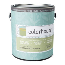Inspired Interior Multi-Purpose Primer, Gallon - Colorhouse paints are zero VOC, low-odor, Green Wise Gold certified and have superior coverage and durability.   Our artist-crafted colors are designed to be easy backdrops for living. Colorhouse paints are 100% acrylic with NO VOCs (volatile organic compounds), NO toxic fumes/HAPs-free, NO reproductive toxins, and NO chemical solvents. Multi-Purpose Primer performs like a premium conventional primer, with excellent hide and adhesion. For use on new wallboard, raw wood, cured masonry or concrete, aluminum and galvanized metal, surfaces previously painted with water or oil-based paint, and when painting a lighter color over a darker color to reduce the amount of topcoat needed.