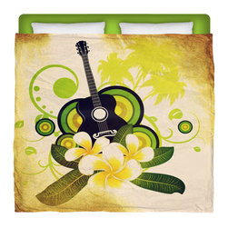 """Eco Friendly Made In USA """"Hawaiian Plumeria and Guitar"""" King Comforter - Share Some Dreamy Hawaiian Nights In This Premium Made In USA """"Hawaiian Plumeria and Guitar"""" King Size Comforter From Our Surfer Bedding Bed and Bath Collection."""
