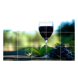 Picture-Tiles, LLC - Wine Grapes Photo Kitchen Bathroom Tile Mural  18 x 30 - * Wine Grapes Photo Kitchen Bathroom Tile Mural 1537