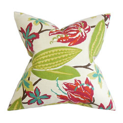 "The Pillow Collection - Averill Floral Pillow Pink 18"" x 18"" - Add a traditional twist to your indoor space with this brilliant home accessory. This throw pillow features a mix of beautiful floral patterns in shades of red, green, blue, yellow, pink and brown. The oversize floral detail is printed on a white background. This 18"" pillow is made in the USA and constructed with 100% durable and plush cotton fabric. Hidden zipper closure for easy cover removal.  Knife edge finish on all four sides.  Reversible pillow with the same fabric on the back side.  Spot cleaning suggested."