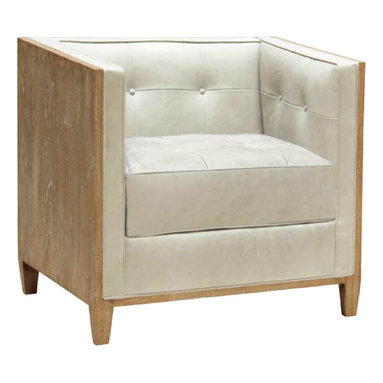 """Oly Studio - Oly Studio Harrison Lounge Chair - The Oly Studio Harrison lounge chair pairs deluxe comfort with uber mod form. Tufted and inviting, the square seat's cream upholstery accents rich wood for a fresh mix. 30""""W x 30""""D x 28.5""""H; Available in several finishes; Hardwood frame"""