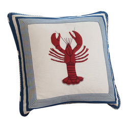 "Taylor Linens - Lobster Porch Pillow - Hand-appliqued and embroidered using 100% cotton materials. Machine washable. 20"" x 20"""
