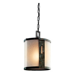 Kichler Lighting - Montara 1-lt Outdoor Hanging Pendant - The relaxed Montara Collection blends Olde World styling with a hint of modernism. Featuring a textured Olde Iron finish, its unadorned linear composition is carefully balanced by stunning curved sheets of Umber Etched Linen glass.