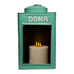 Foreign Affairs Home Decor - KRUPUK - Candle Holder, Turquoise - Recycled Good's Storage cans from Indonsia can now be used as unusual candle holders.