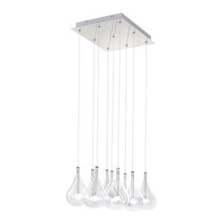 ET2 - ET2 E20116 Nine Light Down Lighting Square Pendant from the Larmes Collection - Nine Light Square Pendant from the Larmes CollectionA simple idea gracefully executed. Row upon row of clear oversized teardrops, mounted onto an extended chrome lamp holder that supports Xenon lamps sets the stage. Individually adjustable drops for custom stagger effects allow for dramatic impact. An added benefit of each drop being aircraft cable-suspended is the ability to adjust the overall height of the piece to fit the space. The overall result is stark and stunning.
