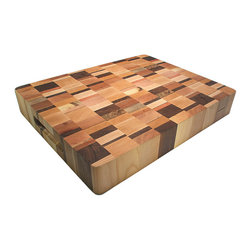 Bengston Woodworks - Bengston Woodworks End Grain Chopping Block 20 x 16 x 3 - An absolutely gorgeous end-grain butcher block featuring a rich and colorful combination of native hardwoods from the Pacific Northwest that include beech, birch, cherry, madrone, myrtle and walnut wood.