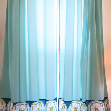 amydutton Window Treatments - Jasmina 2 Fabric Flat Curtain Panel - You can have window treatments made out of any of Amy Dutton original fabrics!  These curtain panels have a flat top and are made of 2 fabric: Jasmina and solid Skyglass.