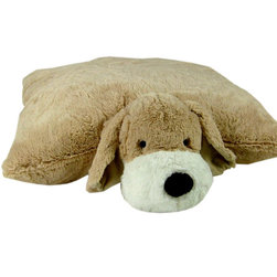 Puppy Floor Cushion - The perfect floor pillow for kids of all ages.  The super soft plush animal features a velcro closure that when opened, allows the animal to lay flat on the floor.  Spot Clean Only.  100% polyester cover and fill