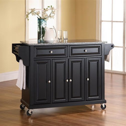 Crosley Furniture - Solid Granite Top Kitchen Cart/Island in Blac - Beautiful Raised Panel Doors. Brushed Nickel Hardware. Total of Three Adjustable Shelves Inside Cabinet. Spice Rack with Towel Bar. Towel Bar / Paper Towel Holder. Solid Granite Top. Solid Hardwood & Veneer Construction. 36in. H x 52in. W x 18in. D (160.5 lbs)Constructed of solid hardwood and wood veneers, this mobile kitchen cart is designed for longevity. The beautiful raised panel doors and drawer fronts provide the ultimate in style to dress up your kitchen. Two deep drawers are great for anything from utensils to storage containers. Behind the four doors, you will find adjustable shelves and an abundance of storage space for things that you prefer to be out of sight. The heavy duty casters provide the ultimate in mobility. When the cabinet is where you want it, simply engage the locking casters to prevent movement. Style, function, and quality make this mobile kitchen cart a wise addition to your home.