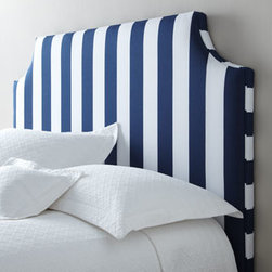 """Massoud - Massoud """"Cabana Stripe"""" Headboard - A classic cut-corner frame dressed in nautical navy-and-white stripes adds crisp presence to this headboard, making it a handsome focal point for any bedroom. Frame made of furniture-grade hardwoods. Polyester upholstery. Mortise-and-tenon construction. Queen headboard, 67""""W x 3""""D x 54""""T. Boxed"""