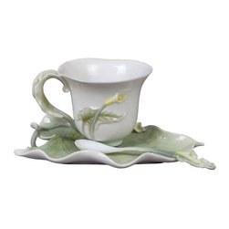 US - 6.25 Inch Glazed Porcelain 3 Piece Calla Lily Coffee Set with Spoon - This gorgeous 6.25 inch glazed porcelain 3 piece calla lily coffee set with spoon has the finest details and highest quality you will find anywhere! 6.25 inch glazed porcelain 3 piece calla lily coffee set with spoon is truly remarkable.
