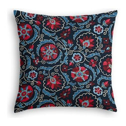 Navy & Red Suzani Custom Euro Sham - The secret to those perfectly made beds you eye in magazines? Euro shams. Complete your bed set with a set of Simple Euro Shams for a look that�۪s as stylish as it is snuggly.  We love it in this eclectic swirling suzani in berry red and aqua on navy blue linen.