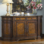 Hooker Furniture - Hooker Furniture Beladora 76-inch Credenza 698-75-903 - The 70-piece Beladora collection of bedroom, dining, living room tables, home office and home entertainment furniture is the epitome of the grand European elegance many are looking for.