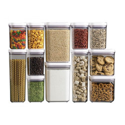 Oxo Good Grips Pop Containers, Set of 12 - Let's face it: Dry goods just look better when out of their original packaging and in clear glass containers. These are also great for keeping track of what you actually have on hand in your pantry.