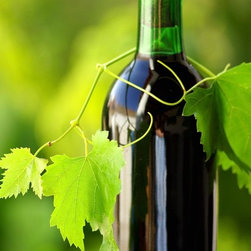 Wallmonkeys Wall Decals - Bottle of Wine between Grapevine Leves Wall Mural - 72 Inches H - Easy to apply - simply peel and stick!