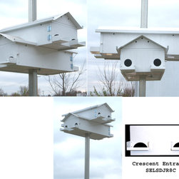 Songbird Essentials - Goliad Junior 8-Room Starling Resistant Crescent + Freight - Songbird Essentials Lonestar Purple Martin Goliad Junior 8 room Starling Resistant Crescent. The Goliad Junior has all the features of the Goliad in an eight room starter house (two stackable housing units).