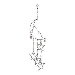 "Benzara - Durable Beautiful Metal Moon Star Wind Chime - Durable Beautiful Metal Moon Star Wind Chime. Lend a rustic charm to your bedroom decor with the metal Wind Chime with Moon and Star design. It comes with a dimension: 8""W x 1""D x 31""H."