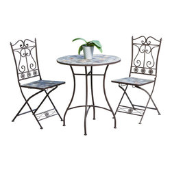Great Deal Furniture - Lucinda Outdoor 3pc Bistro Set - The Lucinda 3pc Bistro Set is a unique set designed with the outdoors in mind. This set is made with steel finish with inlaid natural stone to exude a rustic, natural feel while remaining comfortable. Place this set anywhere in your outdoors and enjoy all of what nature has to offer.
