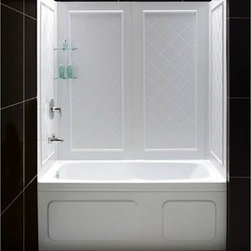 "Bath Authority DreamLine - Bath Authority DreamLine QWALL-Tub Backwalls Kit - DreamLine(TM) universal tub backwalls panels provide a functional and beautiful solution for any bathroom renovation. The versatile tub wall panels are made of durable and easy-to-maintain Acrylic/ABS materials. For Flexibility, the easy-to-install backwalls panels are engineered for a trim-to-size fit. The panels are uniquely designed to be installed over an existing solid surface (not directly to studs). With an attractive tile pattern, the panels are a cinch to maintain with no grout to clean. DreamLine(TM) offers a line of ""Kits"" that pair our most popular tub doors with our durable tub backwalls panels. The convenient kits provide an efficient and cost-effective way to makeover your bathtub space without skimping on quality or style. Features Color: White Assembly required Durable acrylic/ABS construction Compatible with most rectangular shaped bathtubs Specially designed to be installed over existing solid surface (not directly against the studs) Attractive tile pattern Includes 2 glass corner shelves Depth may be trimmed down from 32"" to 28"" Width may be trimmed down from 59-1/2"" to 56"" Height is 60"" Tub is not included Product Warranty: Limited 1 (one) year manufacturer warranty Installation Guide Technical Drawing View Spec Sheet Information regarding the return policy of your DreamLine(TM) product is available here. If you have any questions, please contact us before ordering."