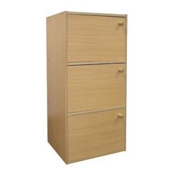ORE International - 3 Door Storage Cabinet in Natural Finish - Solve storage problems in any room of your home with this versatile rubberwood cabinet, featuring a warm, natural finish and a contemporary, streamlined design. Enhanced by a scratch resistant finish, the cabinet features three doors with wood handles and is perfect for storing craft supplies, tools, clothing and more. 3 Door cabinet. Wooden knobs. Scratch-resistant surface. Unique decor-friendly. Contemporary and streamlined design. Made from rubber wood. 16.5 in. W x 12 in. D x 35.5 in. H (34 lbs.)Solve storage problems in any room of your home. Perfect for storing craft supplies, tools, clothing and more.