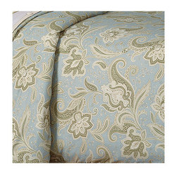 Frontgate - Southport Duvet Cover - Super Queen - From Eastern Accents. Reversible duvet cover features decorative fabric, with beautiful piecing and trimmings, and reverses to a cream colored fabric called Komodo Cotton. Button-tufted and hand-tacked comforters have two layers of decorative fabric with polyester batting secured inside to prevent shifting. Bed skirt has split corners and kick pleats. Dry clean only recommended. Demure elegance and a soft color palette characterize the Southport Bedding Collection. A feminine paisley pattern pairs with cotton and matelasse fabrics, and the gorgeous pillows feature unique designs.  .  .  .  .  . Because this bedding is specially made to order, please allow 4-6 weeks for delivery.. Made in USA of imported goods.